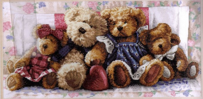 TEDDY BEAR FAMILY CROSS STITCH KIT DIMENSIONS GOLD