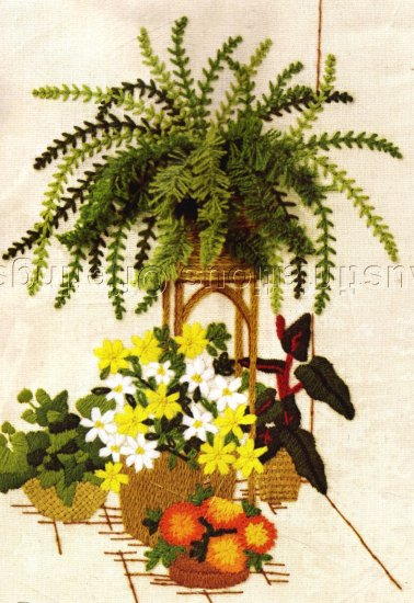 RARE FLOWER GARDEN GERRISH CREWEL EMBROIDERY KIT BOSTON FERN