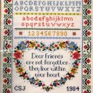 RARE FRIENDSHIP HEART CROSS STITCH SAMPLER SUE TREGLOWN NOT FORGOTTEN