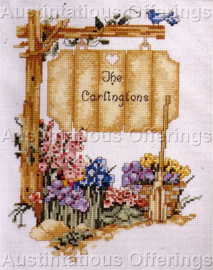 SPRING WELCOME FAMILY SIGN POST CROSS STITCH KIT WILLIAMS
