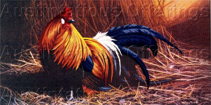COUNTRY FARM ROOSTER CREWEL EMBROIDERY KIT COCKEREL