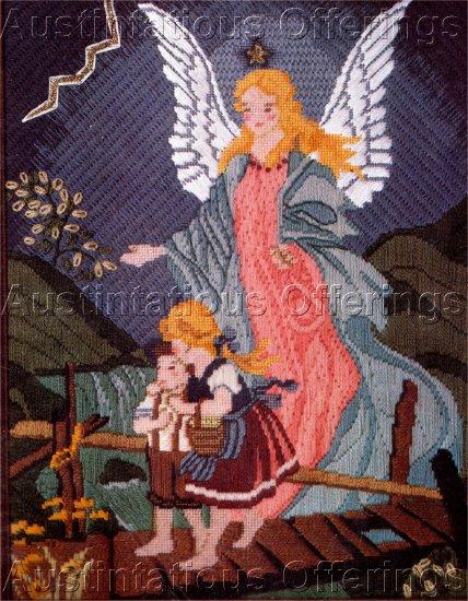 RARE TEXTURED NEEDLEPOINT KIT GUARDIAN ANGEL CHILDREN