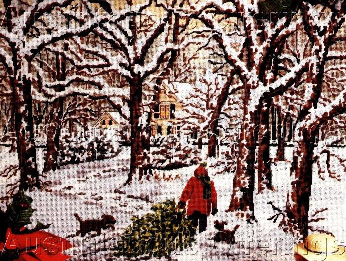 RARE SLOANE CHRISTMAS TREE HARVEST NEEDLEPOINT KIT COMING HOME