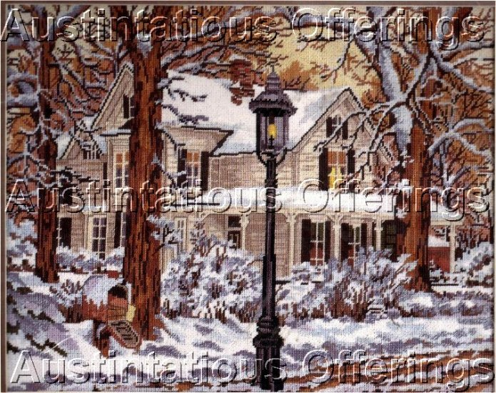 RARE JOHN SLOANE WINTER WOODS FARM HOUSE NEEDLEPOINT KIT