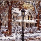 RARE JOHN SLOANE WINTER WOODS FARM HOUSE NEEDLEPOINT KIT