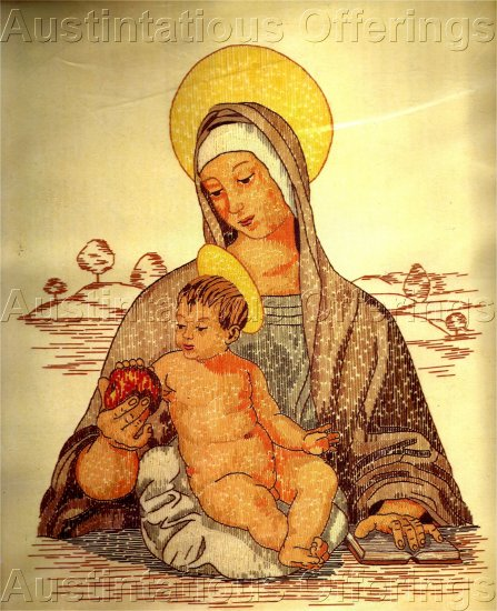 HOLY MOTHER AND CHRIST CHILD  INSPIRATIONAL CREWEL EMBROIDERY KIT