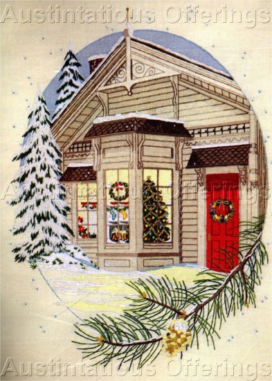 RARE GEORGIA BALL CREWEL EMBROIDERY KIT HOLIDAY SNOWY NIGHT