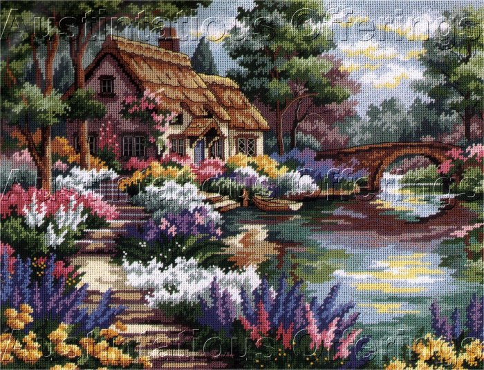 HTF DERTNER SUMMER COTTAGE GARDEN NEEDLEPOINT KIT