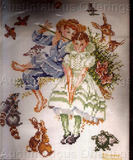 RARE NORMAN ROCKWELL STAMPED CROSS STITCH KIT YOUNG LOVE