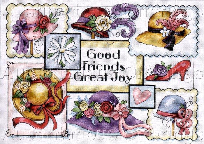 SUSAN WINGET HAT SAMPLER CROSS STITCH KIT GOOD FRIENDS GREAT JOY