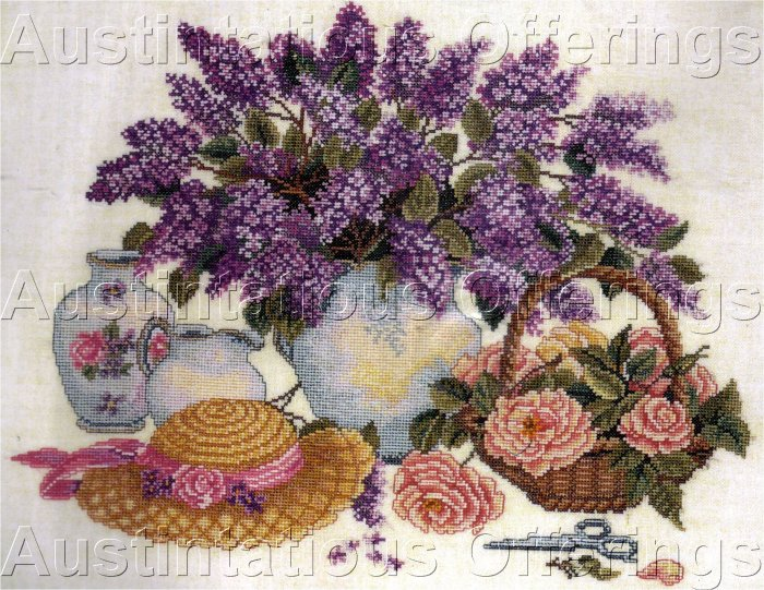 HARD TO FIND ROSENSTAND SPRING LILACS & ROSES CROSS STITCH KIT