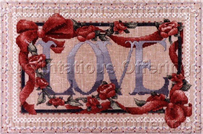 RARE ALMA LYNN VINTAGE LOVE SAMPLER CROSS STITCH KIT RIBBONS & ROSES