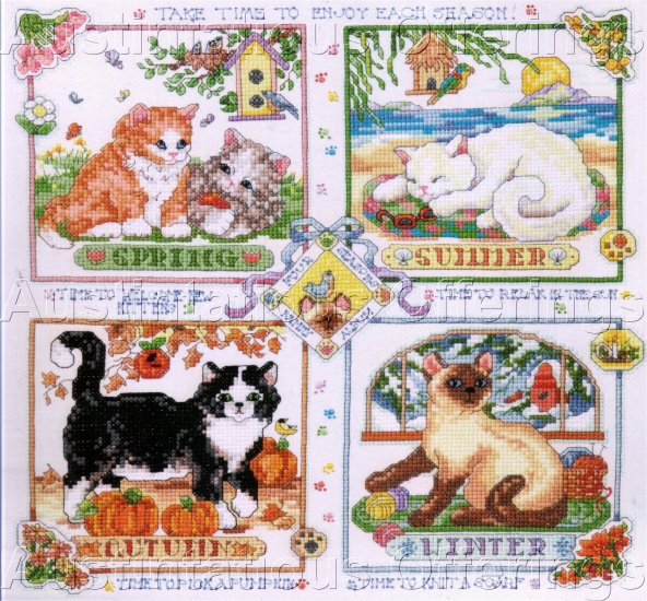 KITTY CATS OF FOUR SEASONS STAMPED CROSS STITCH KIT SIAMESE TIGER CATS