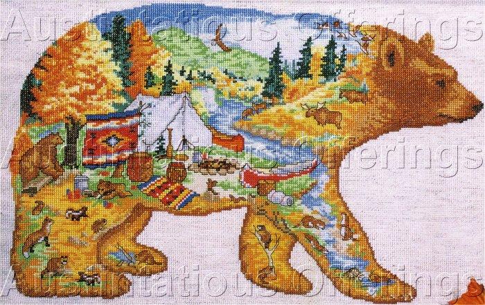 RARE CLEVELAND RUSTIC FOLK ART BEAR CROSS STITCH KIT HIDDEN IMAGE