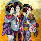 RARE ORIENTAL CHERRY BLOSSOM TIME BAATZ GEISHA ASIAN NEEDLEPOINT KIT