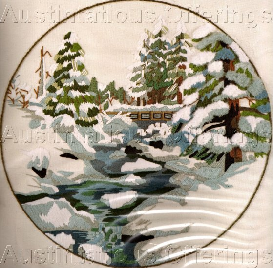 CHARLENE GERRISH MOUNTAIN STREAM CREWEL EMBROIDERY KIT WINTER