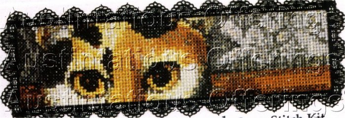 FINE ART REPRODUCTION BOOKMARK CROSS STITCH KIT CAT & KITTENS