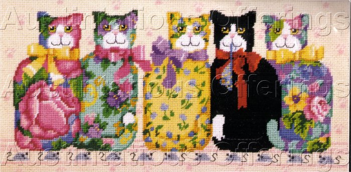 RARE BARB BAATZ CHINTZ CATS NEEDLEPOINT KIT FOLK ART KITTIES