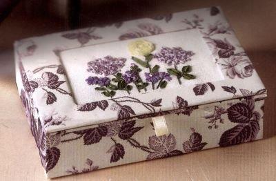 ANNA GRIFFIN SILK RIBBON BLUE ROSES KEEPSAKE TRINKET BOX EMBROIDERY KIT