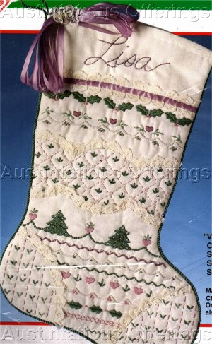 RARE PASTEL SHADES VICTORIAN CREWEL CHRISTMAS STOCKING EMBROIDERY KIT