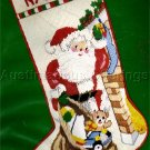 RARE JINICE BEACON TEXTURED NEEDLEPOINT SANTAS TREAT BAG CHRISTMAS STOCKING KIT