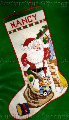 RARE JINICE BEACON TEXTURED NEEDLEPOINT SANTAS TREAT BAG CHRISTMAS STOCKING KIT