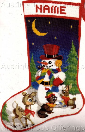 RARE RED TOP HAT SNOWMAN TEXTURED NEEDLEPOINT STOCKING KIT