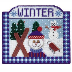 WINTER KITTEN PLASTIC CANVAS NEEDLEPOINT KIT WALL HANGING BIG STITCH