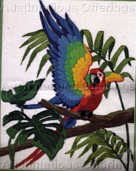 RARE SCARLET MACAW  TROPICAL BIRD LONGSTITCH CREWEL EMBROIDERY KIT PARROT