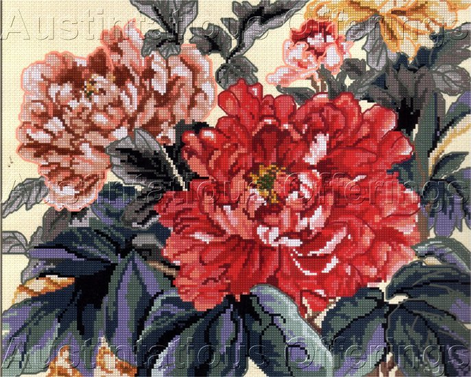 DRAMATIC  WANG FULL BLOWN RED PINK PEONIES CROSS STITCH PILLOW /PICTURE KIT