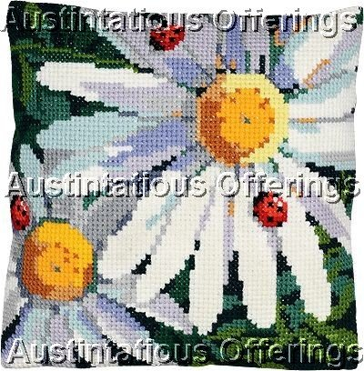 LARGE COUNT WOOL CROSS STITCH PILLOW KIT DAISIES & LADYBUGS