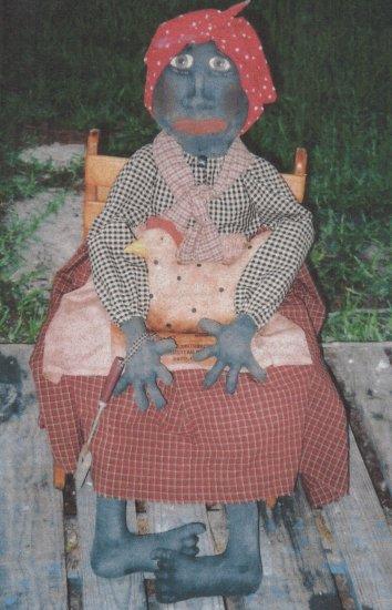 PRIMITIVE BLACK  MAMMY  DOLL FOLK ART PATTERN CHART GERALDINE'S HEN
