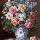 RARE TERRY ELEGANT VASE OF ROSES STAMPED CROSS STITCH KIT ELEGANT FLORAL STILL LIFE