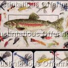 RARE FLY FISHING CROSS STITCH KIT RAINBOW TROUT & FLIES