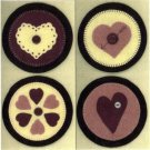 PRIMITIVE FOLK ART  PATTERN CHART VALENTINE MINI PENNIES FELT EMBROIDERY