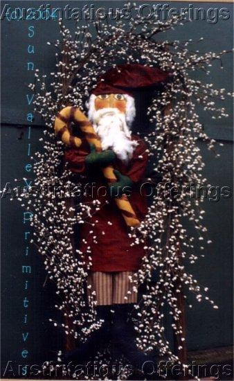 PRIMITIVE FOLK ART CHRISTMAS DOLL PATTERN CHART  CANDY CANE SANTA