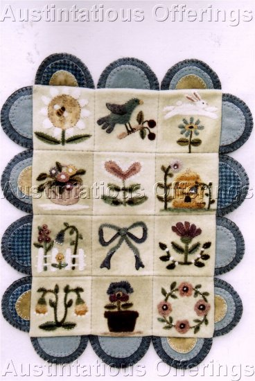 PRIMITIVE FOLK ART NEEDLE FELTING PATTERN CHART  SPRINGTIME SAMPLER