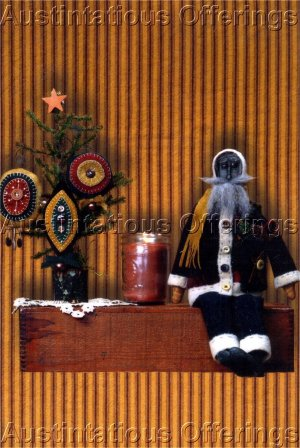 PRIMITIVE FOLK ART CHRISTMAS DOLL PATTERN CHART SANTA AND HIS PENNIES FELT EMBROIDERY