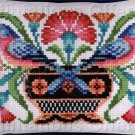 JACOBEAN STYLE LARGE COUNT WOOL CROSS STITCH KIT CARNATION BLUEBIRD SAMPLER