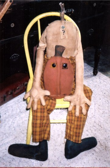 PRIMITIVE FOLK ART SCARECROW HALLOWEEN PORCH DOLL HEADLESS HANK
