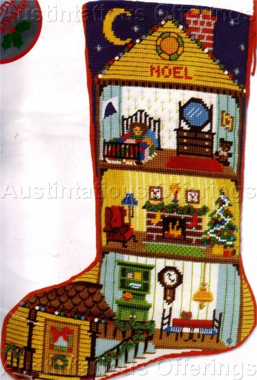 RARE CHRISTMAS DOLLHOUSE NEEDLEPOINT STOCKING KIT