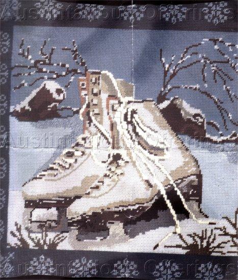 RARE CHRISTMAS ICE SKATES WINTER PILLOW NEEDLEPOINT KIT