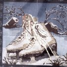 RARE CHRISTMAS ICE SKATES WINTER PILLOW NEEDLEPOINT KIT