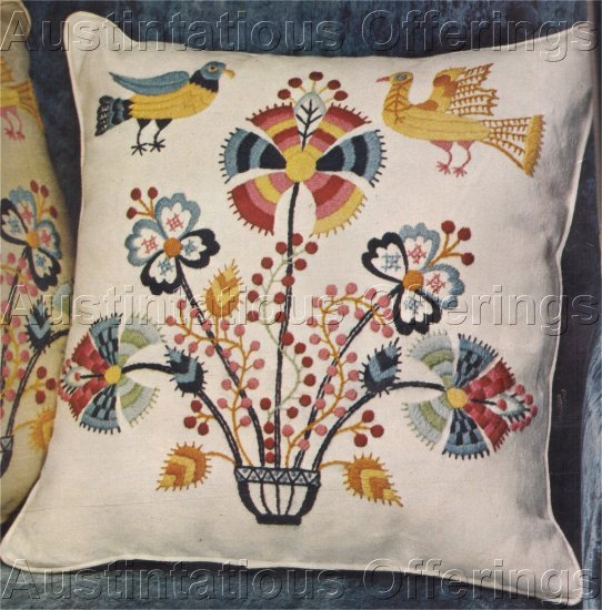 RARE JACOBEAN CREWEL EMBROIDERY PILLOW KIT MARY BREED