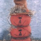 PRIMITIVE FOLK ART HALLOWEEN FALL HARVEST PATTERN JACK-O-LANTERNS PUMPKIN STACK