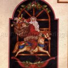 RARE GIAMPA HOLIDAY CROSS STITCH KIT ROCKING HORSE VINTAGE POSTCARD STYLE SANTA CHRISTMAS