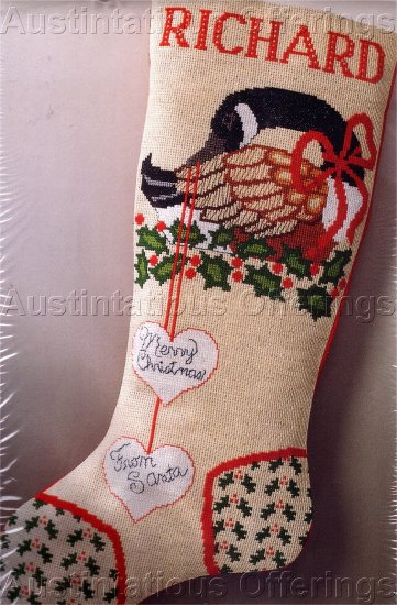 CHRISTMAS CROSS STITCH KIT GOOSE STOCKING , HOLLY
