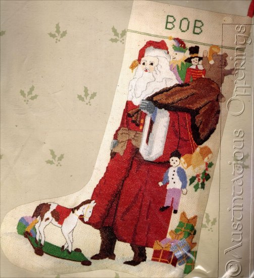 RARE VINTAGE LINEN WOODLAND SANTA CHRISTMAS COUNTED CROSS STITCH STOCKING KIT