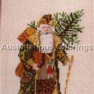 RARE WOODLAND FATHER CHRISTMAS CROSS STITCH KIT SANTA TRIO BELL PULL