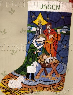 RARE STAINED GLASS MANGER SCENE NEEDLEPOINT CHRISTMAS STOCKING KIT NATIVITY